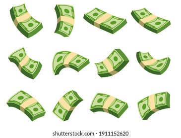 Flying wad of money. Flat vector cartoon money illustration. Objects isolated on a white background.