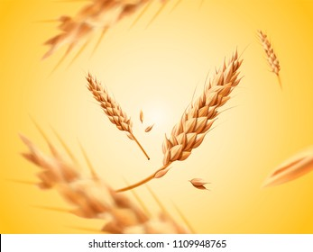 Flying wheats ingredient in 3d illustration on yellow background