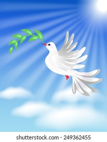 Flying white dove with green branch in the blue sky with clouds