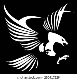 Flying white eagle with the spreading wings. Hawk. Falcon.