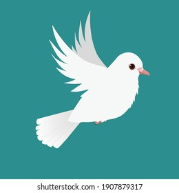 Flying white pigeon illustration on a green background
