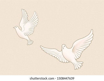Flying wild white dove illustration on beige background