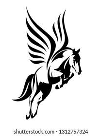 flying winged pegasus horse - black vector outline of greek mythology inspiration symbol