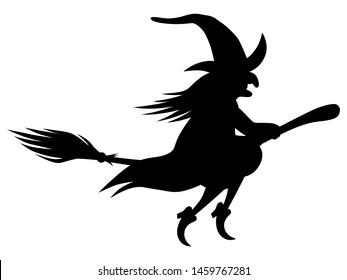 Flying witch on a broom / black and white, vector,  isolated