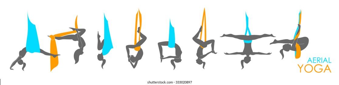 Flying yoga logo templates set. Anti-gravity yoga