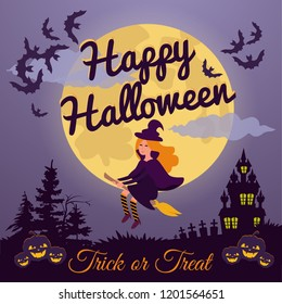 Flying young witch on a broomstick over the moon night sky background. Vector silhouette.Little Halloween Witch.Happy Halloween's day card