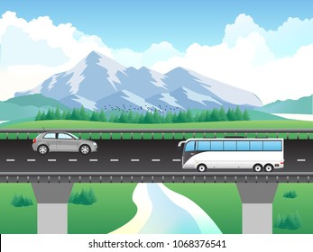 flyover with vehicles, mountain, cloud, river. bridge on the river. traffic on road.