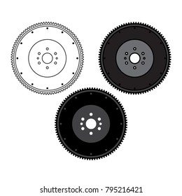 Flywheel front view on white background. Flywheel damper for automotive engine on a white background. Car parts