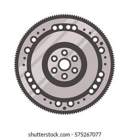 Flywheel icon on white background, car parts
