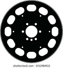 Flywheel. Vehicle parts. Drive train. Silhouette vector