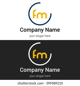 FM business logo icon design template elements. Vector color sign.