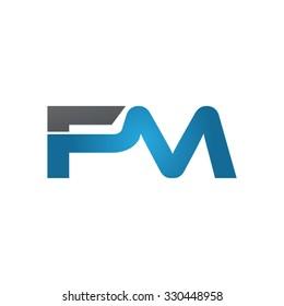 FM company linked letter logo blue