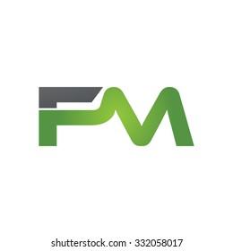 FM company linked letter logo green