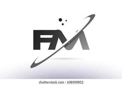 fm f m alphabet letter logo black white grey swoosh creative text dots company vector icon design template