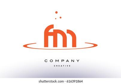 FM F M creative orange swoosh dots alphabet company letter logo design vector icon template