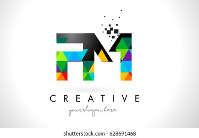 FM F M Letter Logo with Colorful Vivid Triangles Texture Design Vector Illustration.