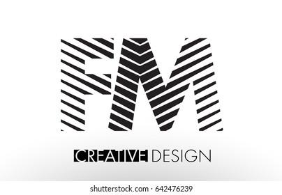 FM F M Lines Letter Design with Creative Elegant Zebra Vector Illustration.