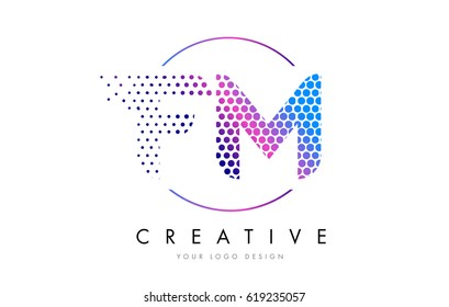 FM F M Pink Magenta Dotted Bubble Letter Logo Design. Dots Lettering Vector Illustration