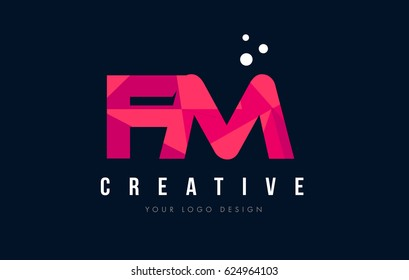 FM F M Purple Letter Logo Design with Low Poly Pink Triangles Concept