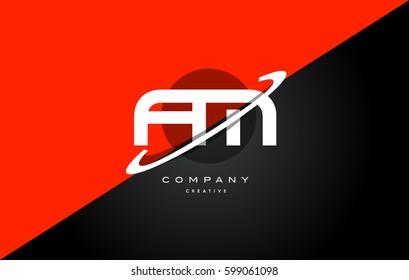 fm f m  red black white technology swoosh alphabet company letter logo design vector icon template
