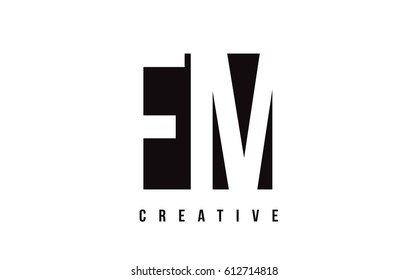FM F M White Letter Logo Design with Black Square Vector Illustration Template.