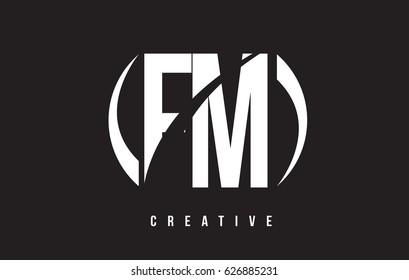FM F M White Letter Logo Design with White Background Vector Illustration Template.