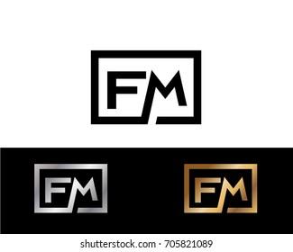 FM initial box shape Logo designs template