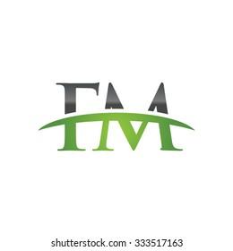 FM initial company green swoosh logo