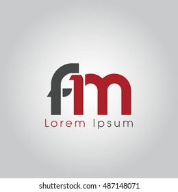 fm initial letter linked lowercase logo. f and m vector template design.