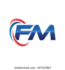 FM initial letter logo swoosh red blue
