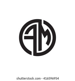 FM initial letters loop linked circle monogram logo