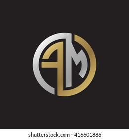 FM initial letters loop linked circle elegant logo golden silver black background