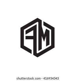 FM initial letters loop linked hexagon monogram logo