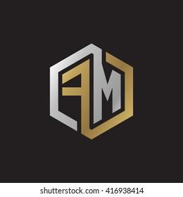 FM initial letters loop linked hexagon elegant logo golden silver black background