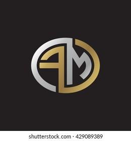 FM initial letters looping linked ellipse elegant logo golden silver black background