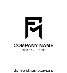 fm initial logo. black color vector
