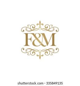 F&M Initial logo. Ornament ampersand monogram golden logo