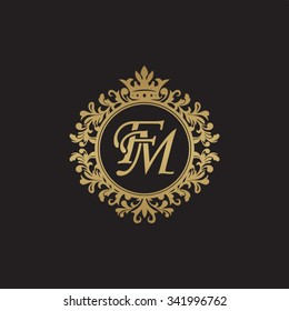 FM initial luxury ornament monogram logo