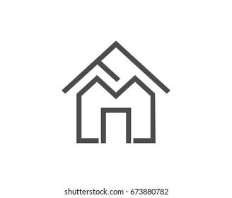 FM letter as a house shape logo vector