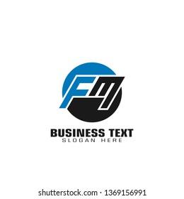 FM letter logo, initial letter FM graphic logo template, flat logo design, isolated on white background.