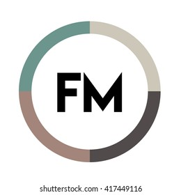 FM letters, four colors in abstract background logo, design identity in circle, alphabet letter