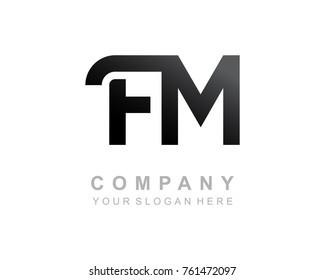 FM logo letter design vector