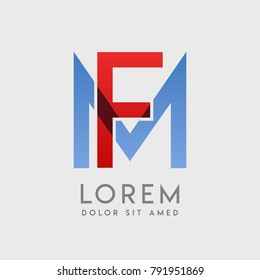 """FM logo letters with """"blue and red"""" gradation"""