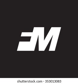 FM negative space letter logo black background