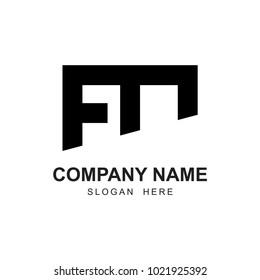 fm shape letter logo business company