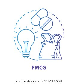 FMCG blue concept icon. Fast moving consumer goods idea thin line illustration. Low cost and quickly sold products. Market industry management. Vector isolated outline drawing. Editable stroke