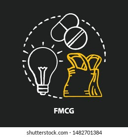 FMCG chalk concept icon. Fast moving consumer goods idea. Low cost and quickly sold products. High consumer demand. Market industry management. Marketing trend. Vector isolated chalkboard illustration