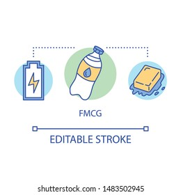 FMCG concept icon. Fast moving consumer goods idea thin line illustration. Low cost and quickly sold products. Market industry management. Vector isolated outline drawing. Editable stroke