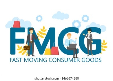 FMCG fast moving consumer goods vector isolated. Business acronym, marketing abbreviation. Quickly moving product, short term goods. Business and commerce.
