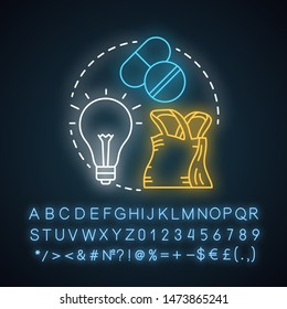 FMCG neon light concept icon. Fast moving consumer goods idea. Market industry management. Low cost, quickly sold products. Glowing sign with alphabet, numbers, symbols. Vector isolated illustration